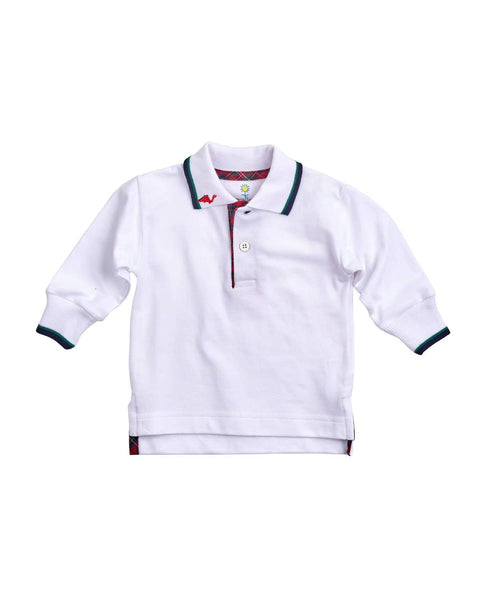 White Knit Pique Polo with Dinosaur Embroidery - Florence Eiseman