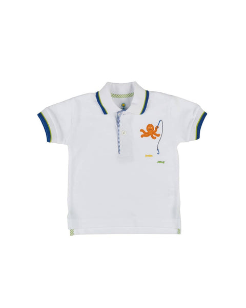 White Knit Pique Polo with Octopus Applique - Florence Eiseman