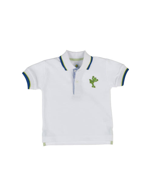 White Pique Polo with Royal/Lime Trim and Embroidered Frog - Florence Eiseman