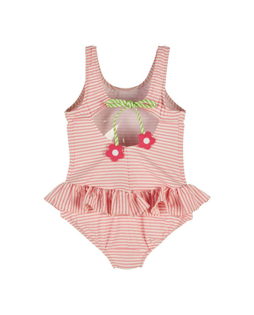 Girls Pink Stripe Seersucker Swimsuit - Florence Eiseman