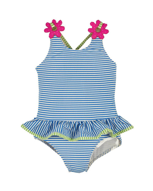 Girls Blue and White Stripe Seersucker Swimsuit - Florence Eiseman