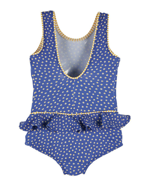 Daisy Print Swimsuit with Appliqued Flowers - Florence Eiseman
