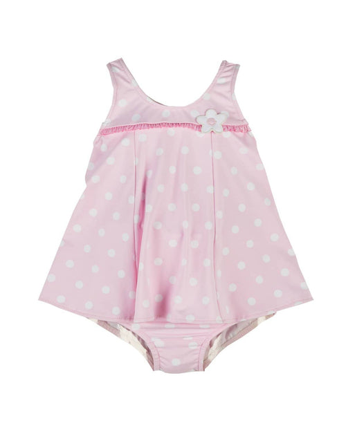 Girls Pink Dot Swimsuit with Flowers - Florence Eiseman