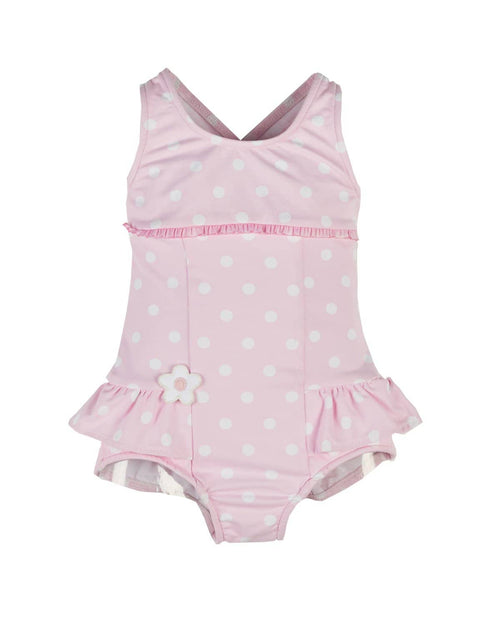 Girls Pink Dot Swimsuit with Appliqued Flower - Florence Eiseman