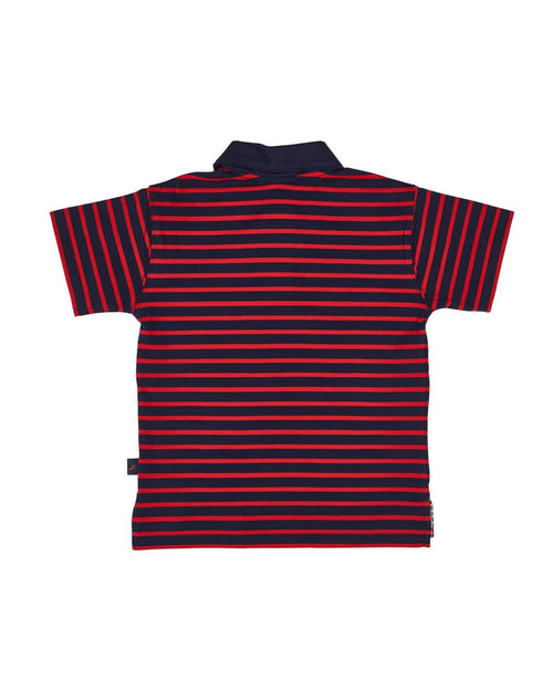 Navy and Red Stripe Knit Polo - Florence Eiseman