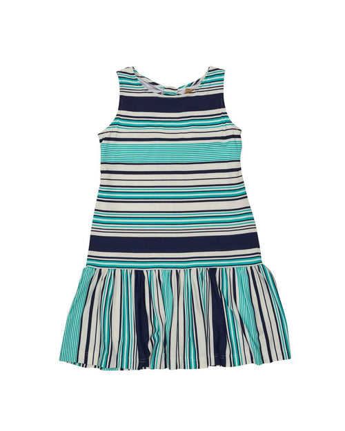 Tween Navy, Aqua & Cream Stripe Knit Dress - Florence Eiseman