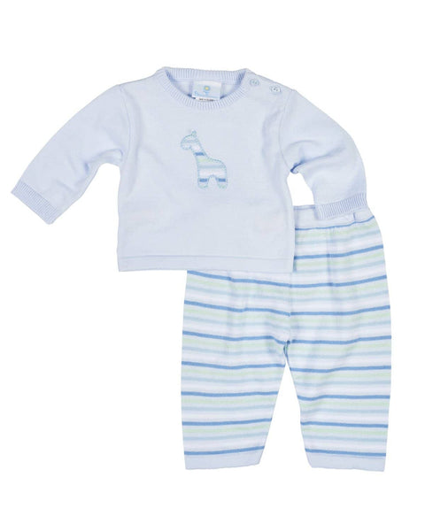 Light Blue Sweater and Pant Set with Applique Giraffe - Florence Eiseman