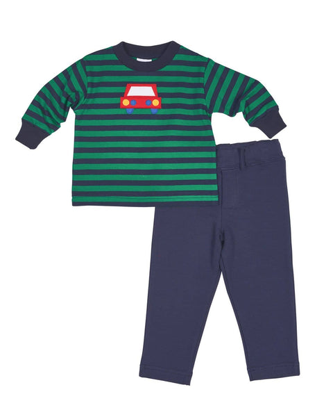 Boys Stripe Shirt with Appliqued Car - Florence Eiseman
