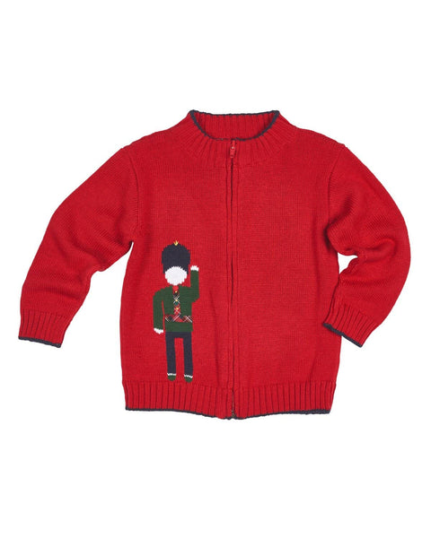 Red Zip Front Sweater with Soldier Intarsia - Florence Eiseman
