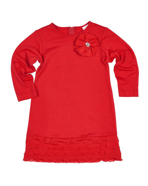 Red French Terry Dress with Ruffles - Florence Eiseman
