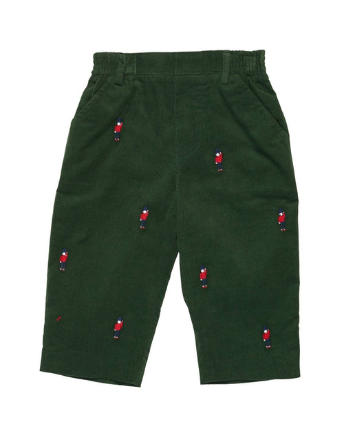 Dark Green Corduroy Pants with Embroidered Soldiers - Florence Eiseman