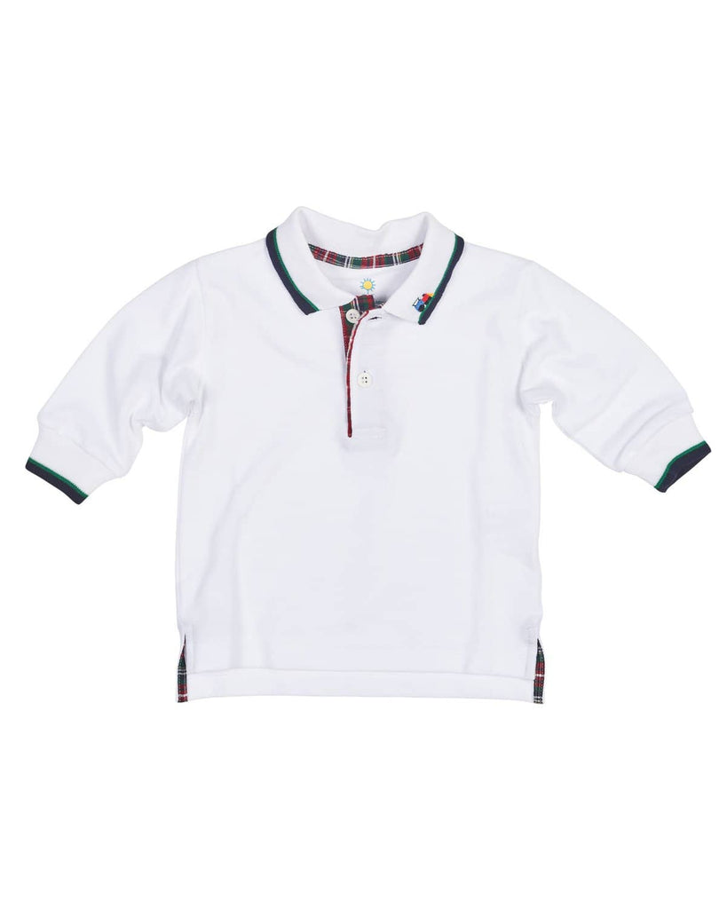 White Pique Polo With Navy And Green Tipping And Applique Train