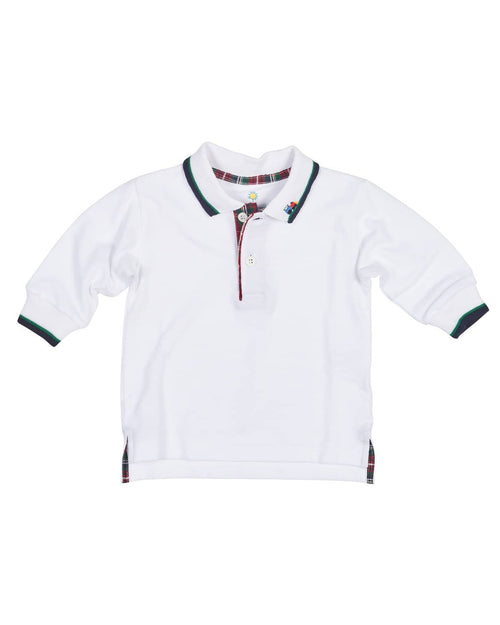 White Pique Polo with Navy and Green Tipping and Applique Train - Florence Eiseman
