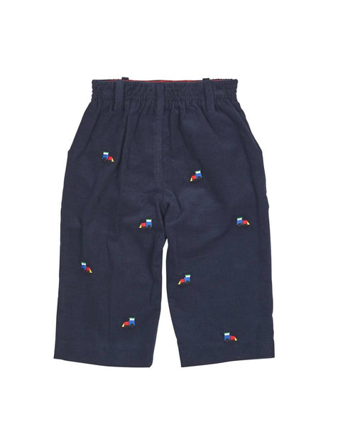 Navy Corduroy Pant with Embroidered Trains - Florence Eiseman