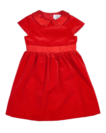 Girls Red Stripe Knit Dress with Holly Berries