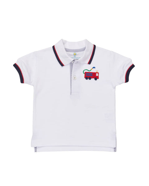 White Knit Pique Polo w/ Navy/Red Trim, Firetruck Applique - Florence Eiseman