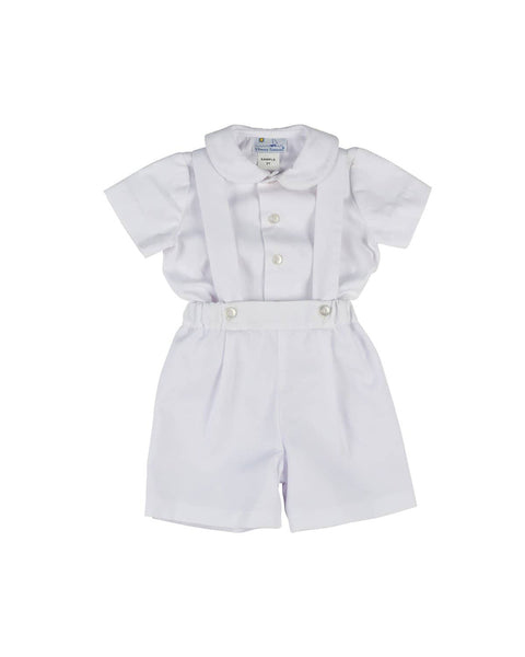 White Finewale Pique Suspender Shorts and Shirt - Florence Eiseman