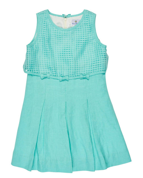 Tween Aqua Linen Dress with Lattice Popover Top - Florence Eiseman