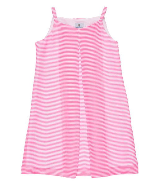 Tween Neon Pink and White Chiffon Stripe Dress - Florence Eiseman
