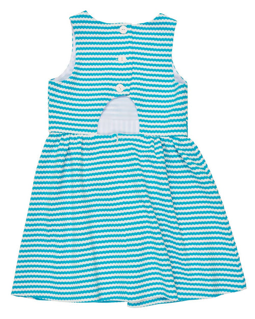 Aqua/White Stripe Textured Knit Dress - Florence Eiseman