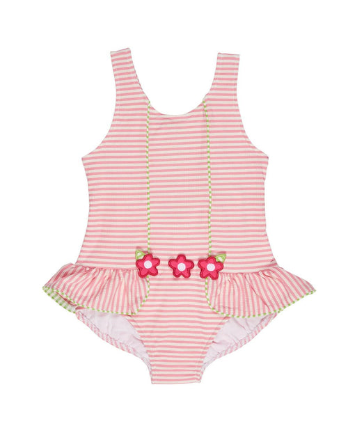 Pink and White Stripe Seersucker Swimsuit with Flowers - Florence Eiseman