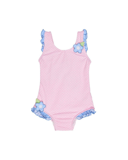 Mini Dot Swimsuit with Ruffles and Applique Flowers - Florence Eiseman