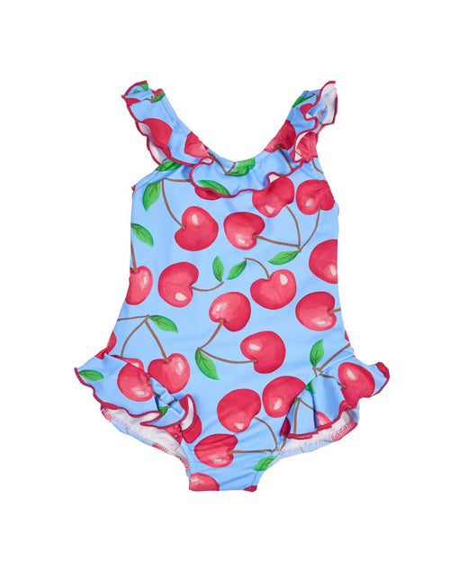 Cherry Print Swimsuit with Applique Cherries - Florence Eiseman