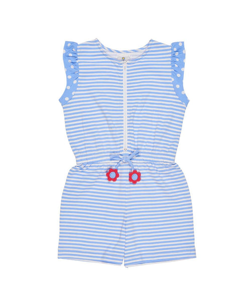 Periwinkle and White Stripe Romper - Florence Eiseman