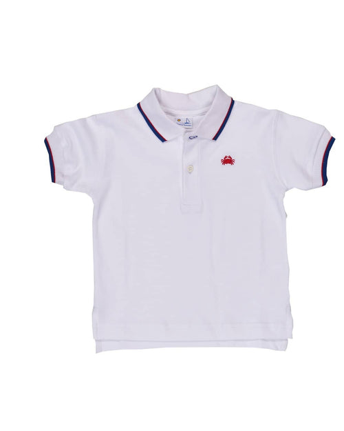 Pique Polo with Royal and Red Tip and Crab Embroidery - Florence Eiseman