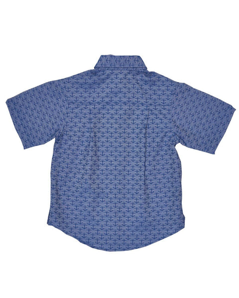 Blue Anchor Jacquard Camp Shirt - Florence Eiseman