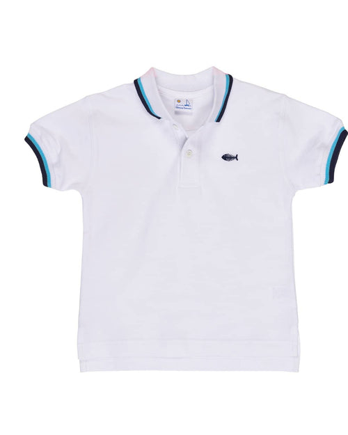 White Knit Pique Polo w/ Navy/Aqua Tipping and Fishbone Embroidery - Florence Eiseman
