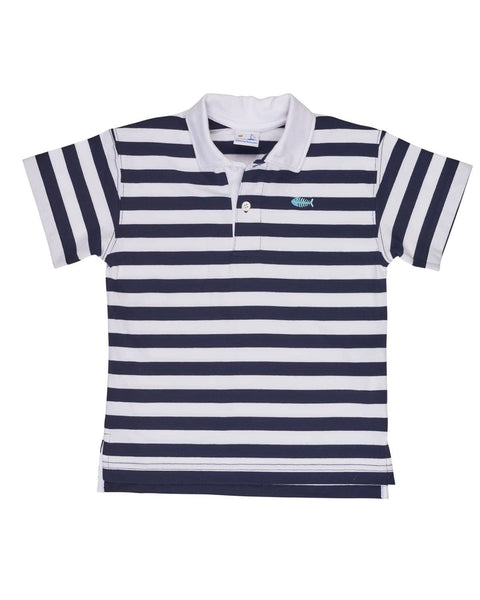 c2bdd8145 Navy and White Stripe Knit Shirt w  Fishbone Embroidery – Florence ...