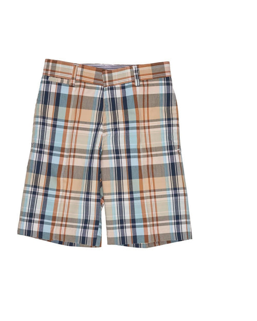 Navy, Aqua and Camel Plaid Shorts - Florence Eiseman