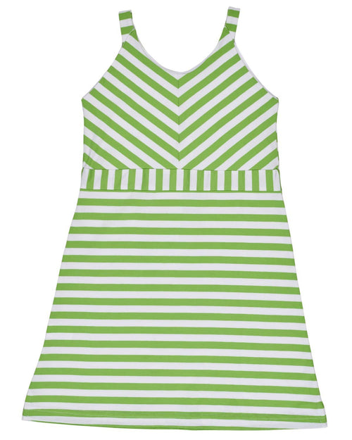Tween Lime and White Stripe Knit Dress - Florence Eiseman