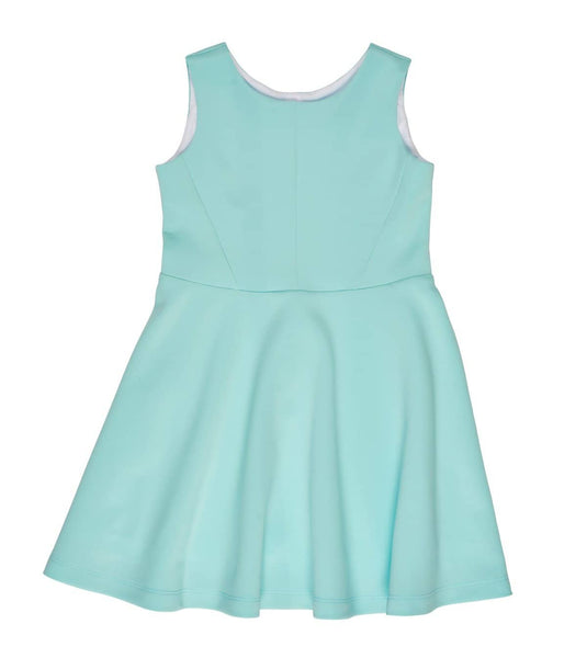 Tween Aqua Knit Dress with Back Cut-out - Florence Eiseman
