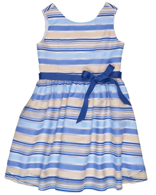 Tween Blue Stripe Organza Dress with Ribbon Belt - Florence Eiseman