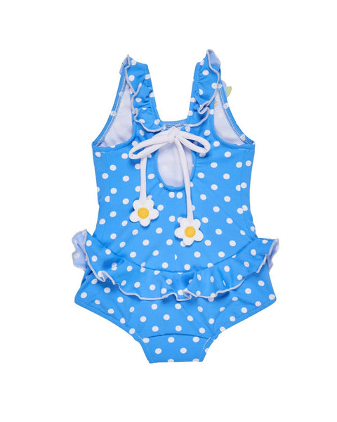 Polka Dot Swimsuit with Appliqued Flowers - Florence Eiseman