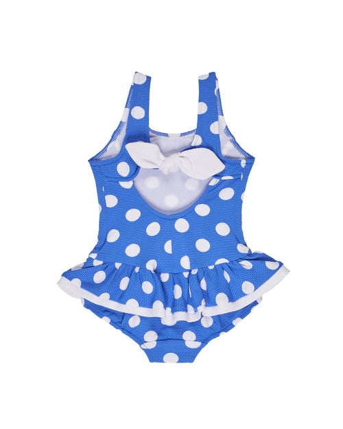 Blue/White Polka Dot Waffle Knit Swimsuit - Florence Eiseman