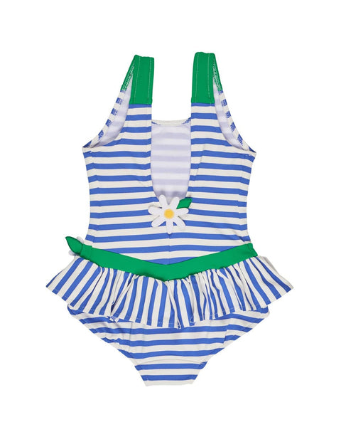Stripe Swimsuit with Daisy Appliques - Florence Eiseman