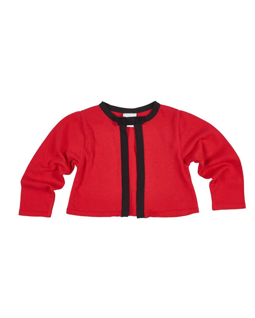 Tween Red and Black 100% Cotton Sweater with Velvet Ribbon Bow - Florence Eiseman