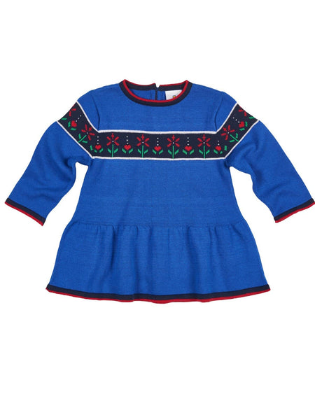 Girls Terry Coverup with Aqua Pompom Trim