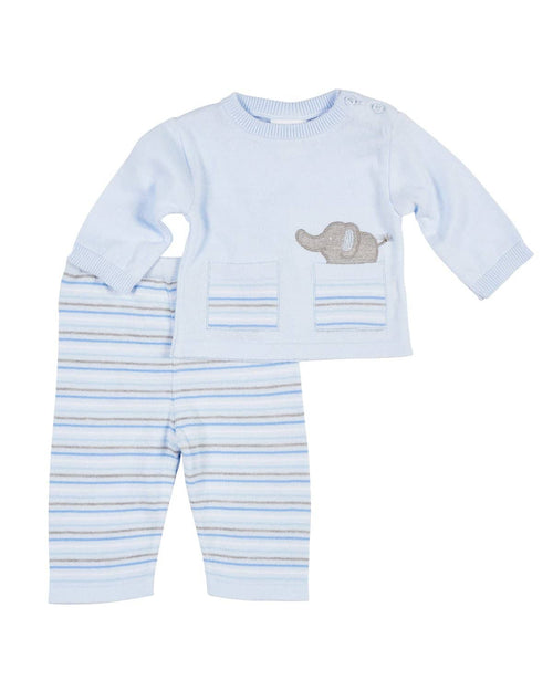 Blue Stripe Sweater Knit Top/Pant Set with Appliqued Elephant - Florence Eiseman