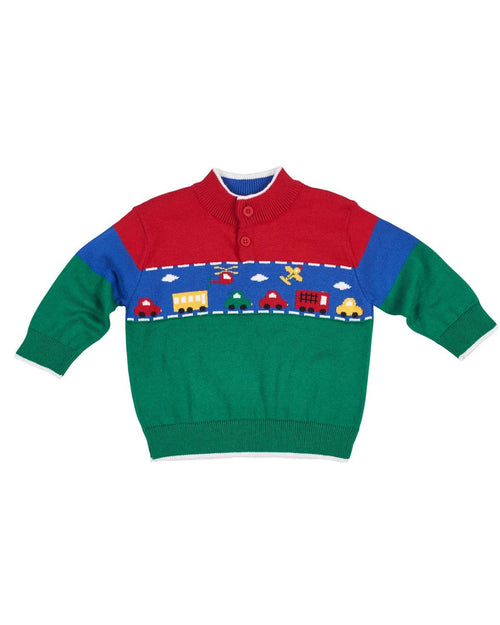 Boys Jacquard Sweater with Vehicles - Florence Eiseman