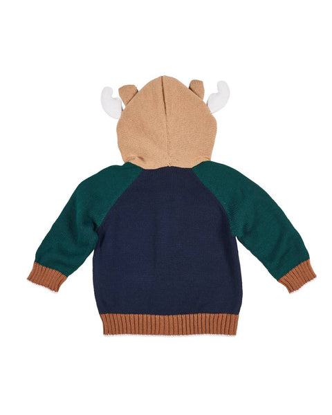 Camel, Navy and Green Moose Sweater - Florence Eiseman