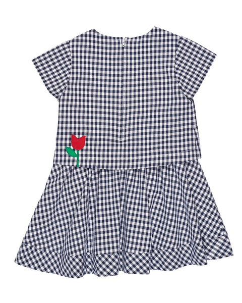 Navy and White Check Popover Dress with Tulips - Florence Eiseman