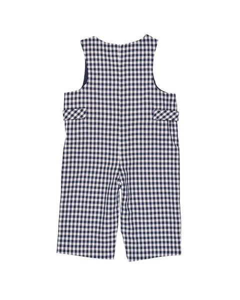 Navy and White Check Longall with Applique Cars - Florence Eiseman