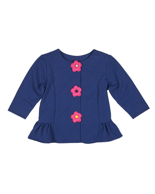Navy French Terry Jacket with Flower Closure - Florence Eiseman