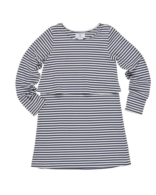 Grey and White Stripe Popover Dress - Florence Eiseman