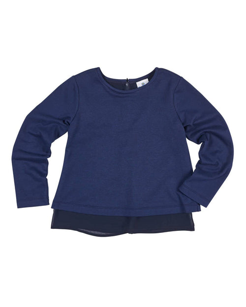 Navy French Terry and Chiffon Top - Florence Eiseman
