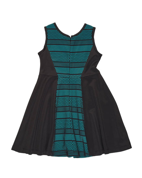 Jade and Black Lace Techno Knit Dress - Florence Eiseman